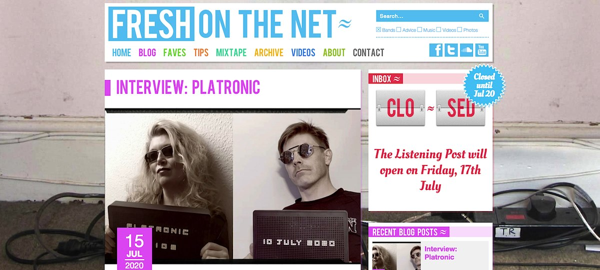 Platronic Interview on Fresh On The Net